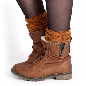 "Bottines ""Ayawa\"", Marron camel"