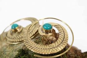 """Boucles d\'oreille \""""Bavandar\"""", Pierre turquoise"""