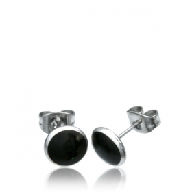 "Boucles d\'oreille ""Black circle\"""