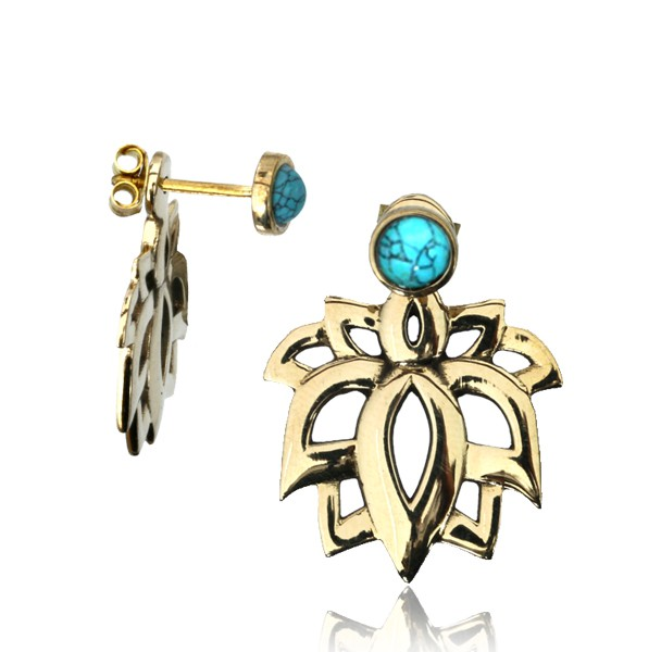 """Boucles d\'oreille \""""Lotus Sayam Turquoise\"""""""