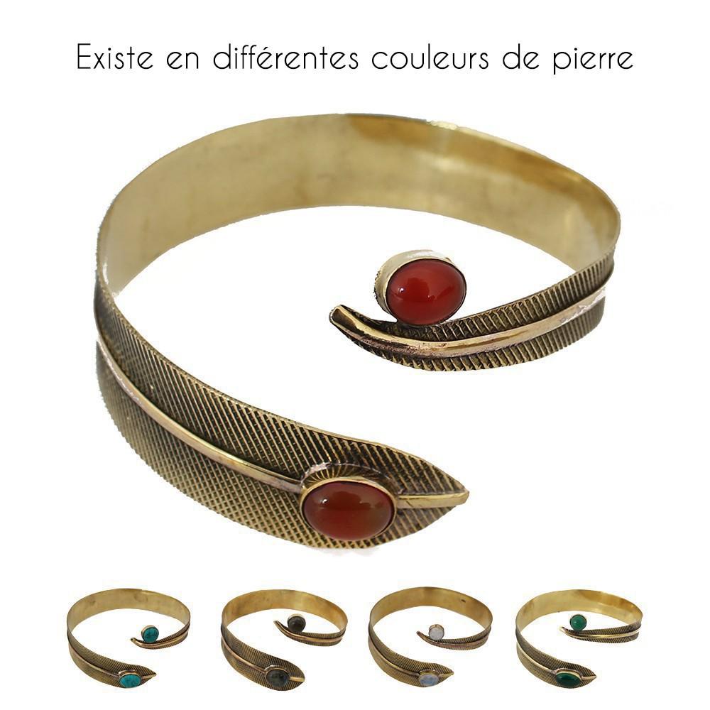 """Bracelet \""""Plume Dahlia\"""", Pierre de lune"""