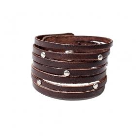 """Bracelet clouté en cuir \""""Akshay\"""", Marron"""