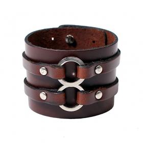 "Bracelet en cuir \""Baldev\"", Marron"