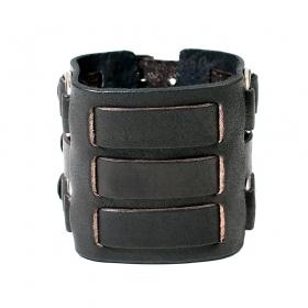 """Bracelet en cuir \""""Ojas\"""", Noir"""