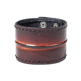 "Bracelet en cuir \""Ujjala\"", Noir et marron"