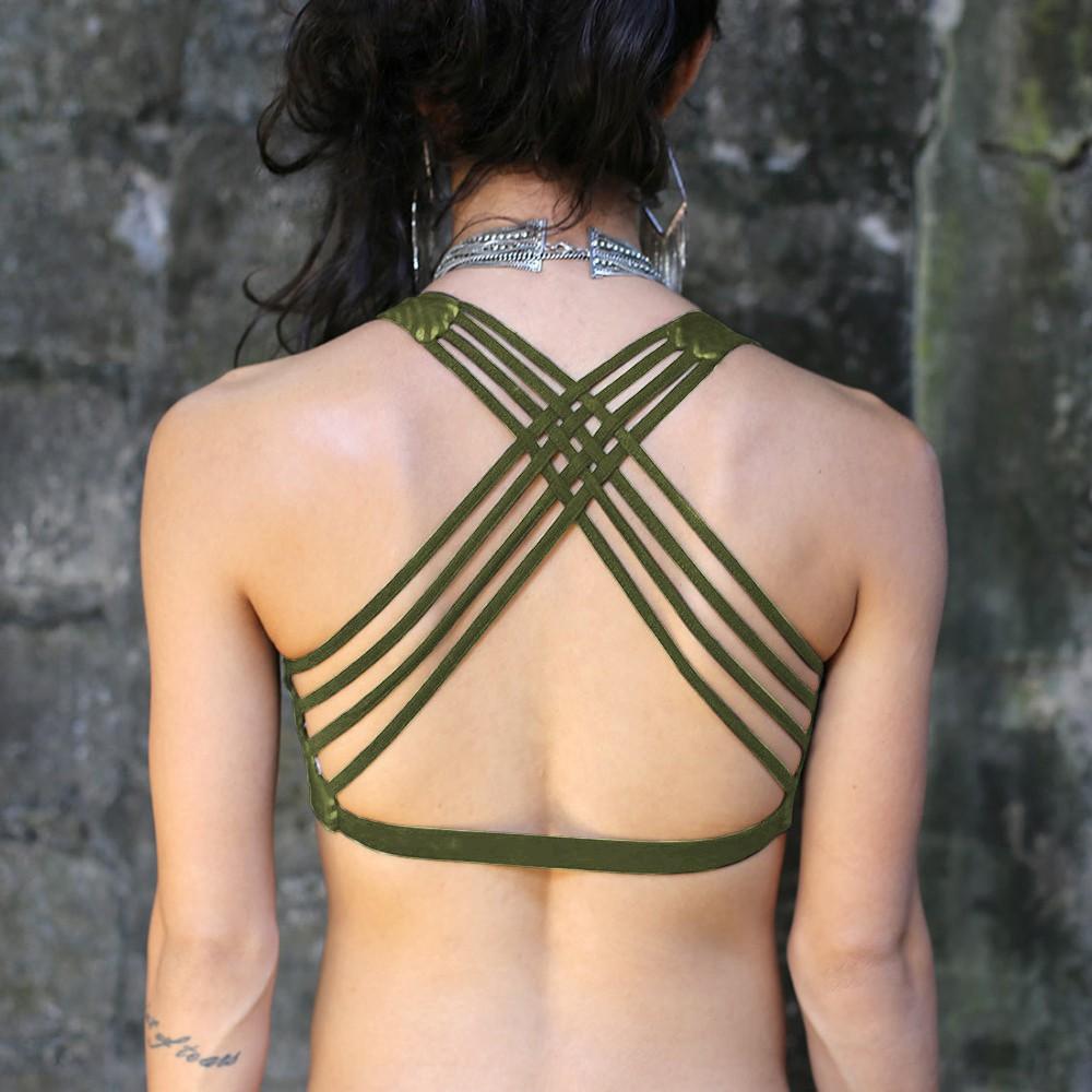 """Brassière \""""CrissCross yoga\"""", Kaki motif Hypnotik"""