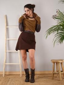 """Châle en maille et faux cuir \""""Aeriz\"""", Rouille et marron"""