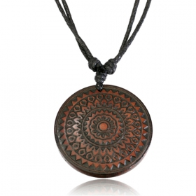 "Collier ""Wooden Mandala\"""