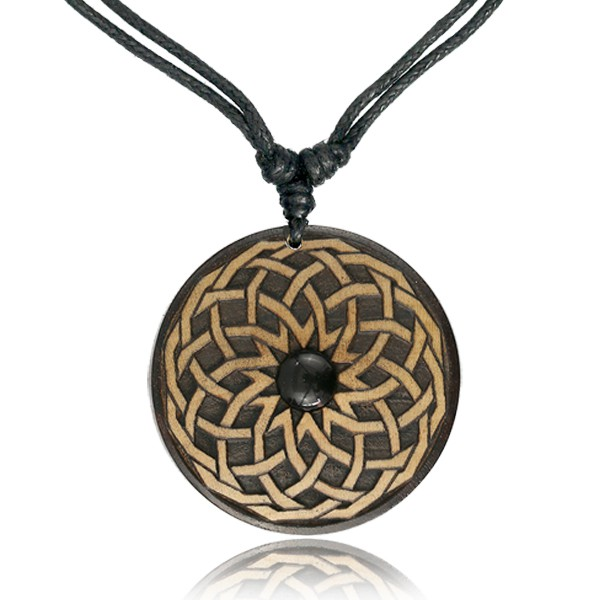 "Collier bois et Onyx ""Wooden Sacred Geometry\"""