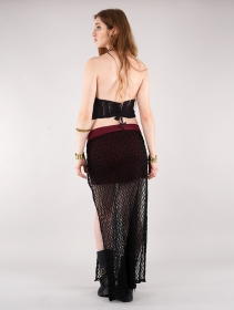 "Crop top en crochet ""Amae\"", Noir"