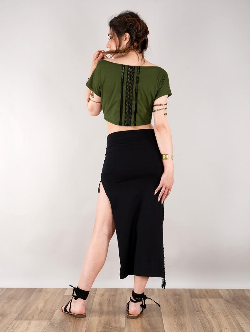 """Crop top manches courtes \""""Kassandra\"""", Vert kaki"""