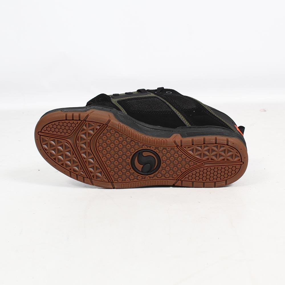 DVS Comanche, Cuir nubuck noir et détails kaki et rouge
