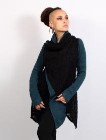 """Gilet crochet \""""Namkha Tisya\"""", Bleu"""