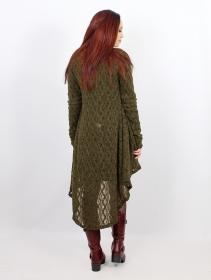 """Gilet en crochet \""""Kalyäa\"""", Vert kaki"""