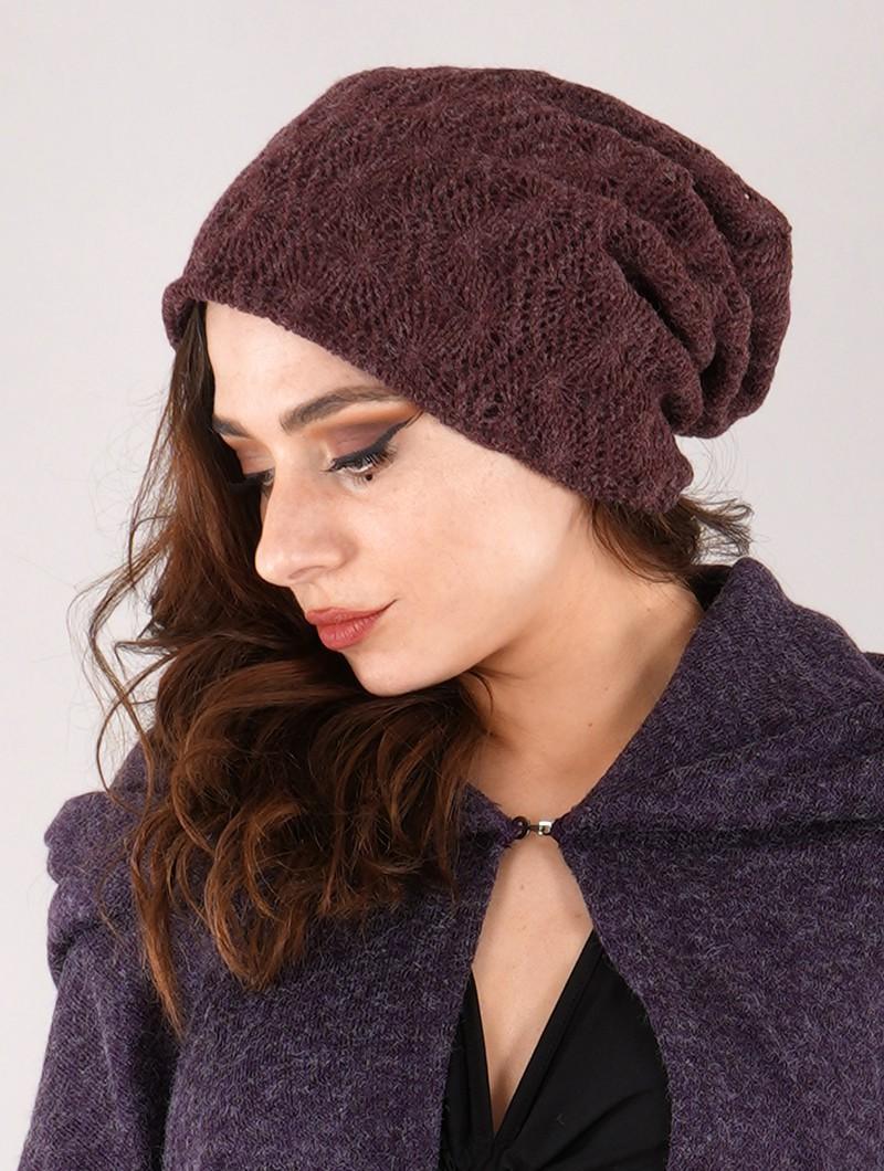 "Gros bonnet dread en crochet \""Sükk\"", Bordeaux"