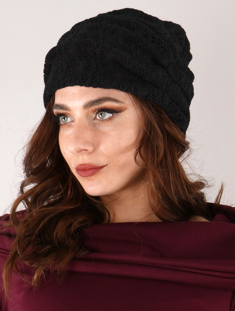 "Gros bonnet froncé en crochet \""Aslan\"", Noir"