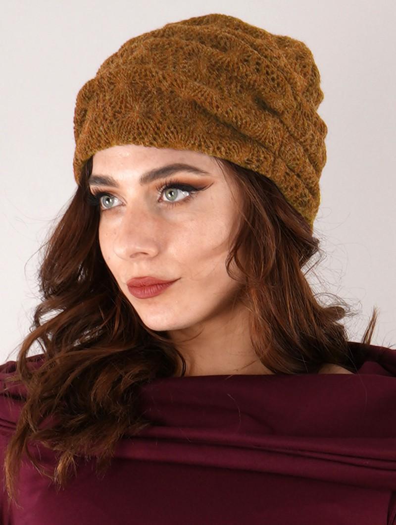 """Gros bonnet froncé en crochet \""""Aslan\"""", Rouille"""