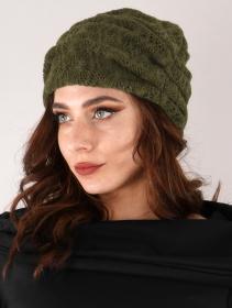 "Gros bonnet froncé en crochet \""Aslan\"", Vert kaki"