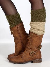 "Guêtres crochet \""Naïlo\"", Vert kaki"