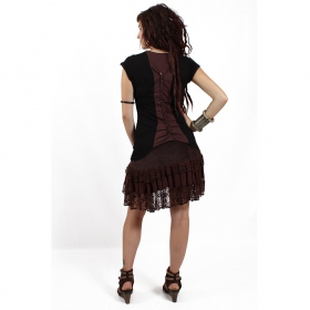 "Jupe \""lace wrap\\\"", marron"