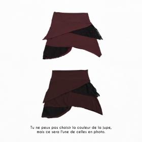 """Jupe """"Nangaï"""", Marron auburn dentelle noire"""