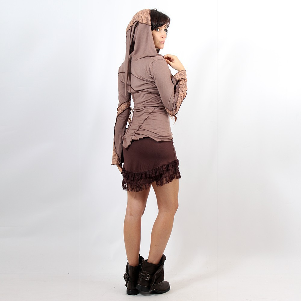 "Jupe ""Soft Wrap\"", Marron"