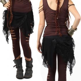jupe liloo chibi moon en dentelle noire style gothique, dark punk avec superpositions de matières