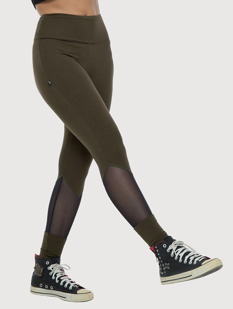"Legging long avec empiècements en tulle \""Arrow\"", Vert kaki foncé"