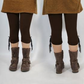 """Legging Yggdrazil \\\""""Li-Zö\\\"""", Marron dentelle noire"""