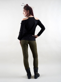 "Leggings \""Rinji Lame\"", Vert kaki"