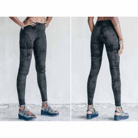 "Leggings long ""Roots\"", Gris imprimé"