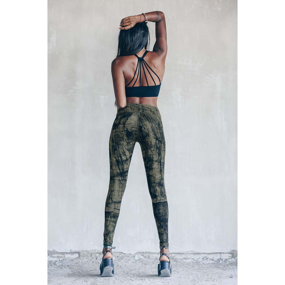 "Leggings long ""Roots\"", Vert olive imprimé"