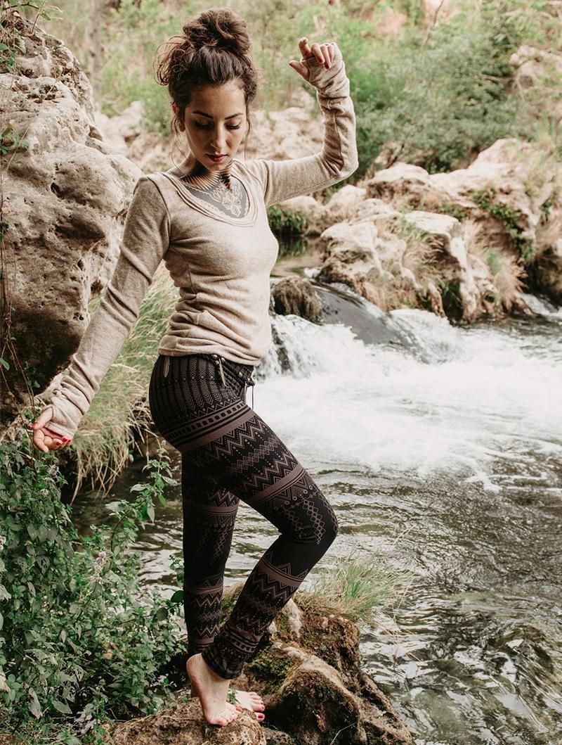"Leggings longs \""Rinji Aztec\"", Noir motif marron"