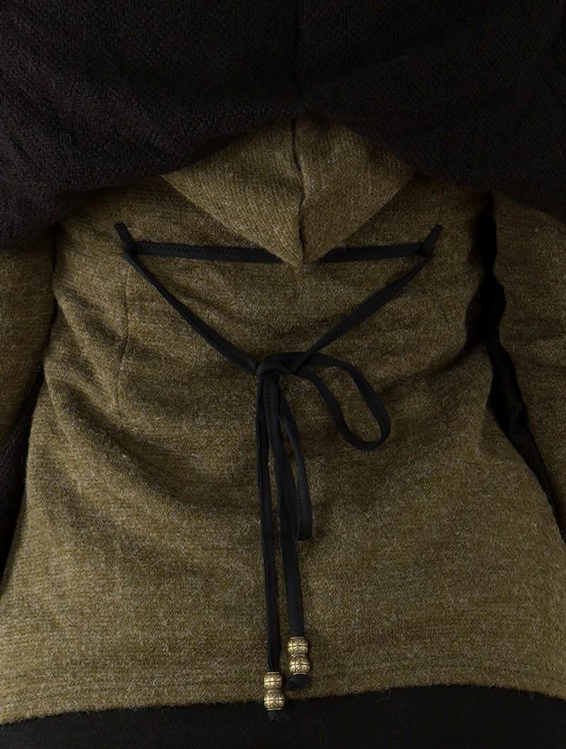 "Manteau \""Azmäe\"", Vert kaki et noir"