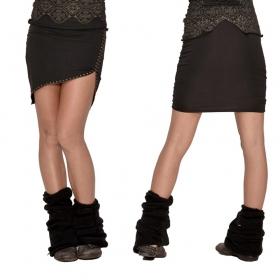 "Mini jupe Psylo \""Zip\"", Noir"
