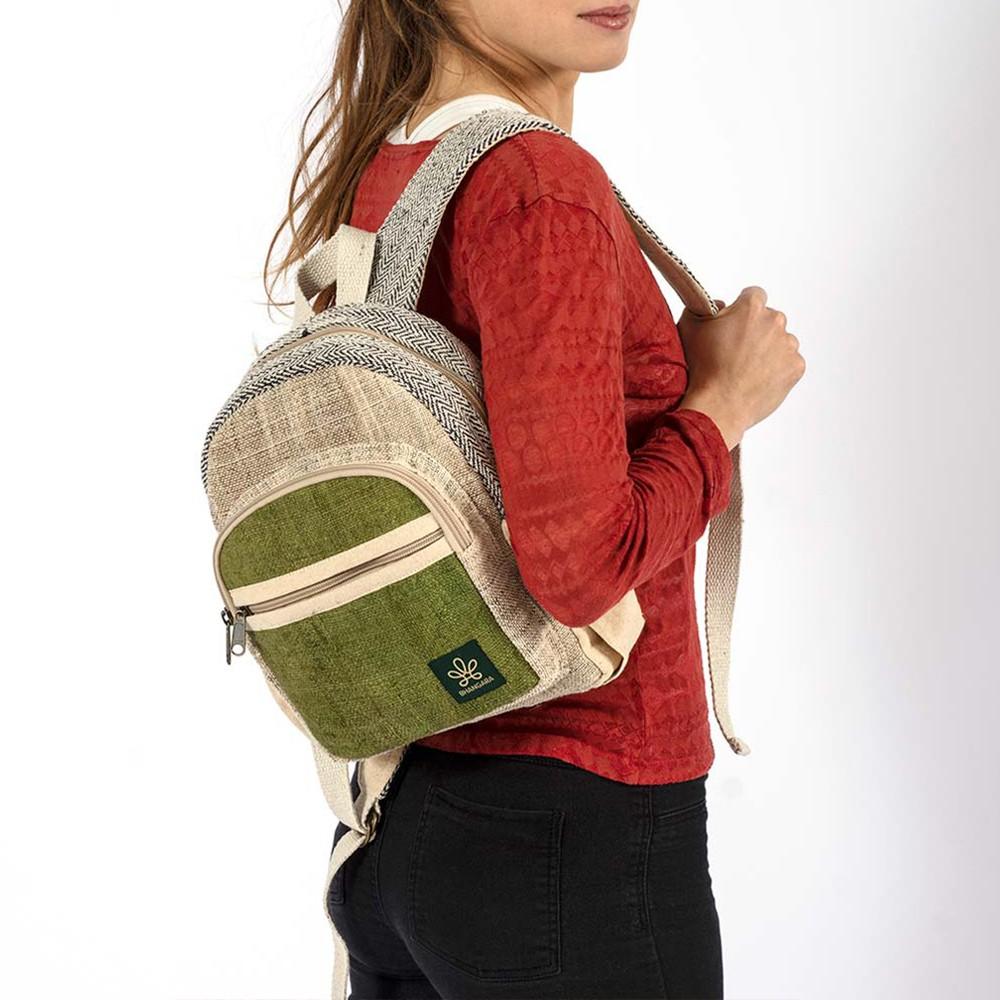 "Mini sac à dos \""Sunsari\"", chanvre et coton anis"