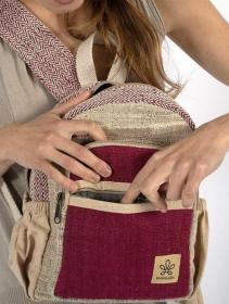 """Mini sac à dos \""""Sunsari\"""", Chanvre et coton bordeaux et beige"""