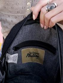 """Mini sac à dos \""""Sunsari\"""", Chanvre et coton noir"""