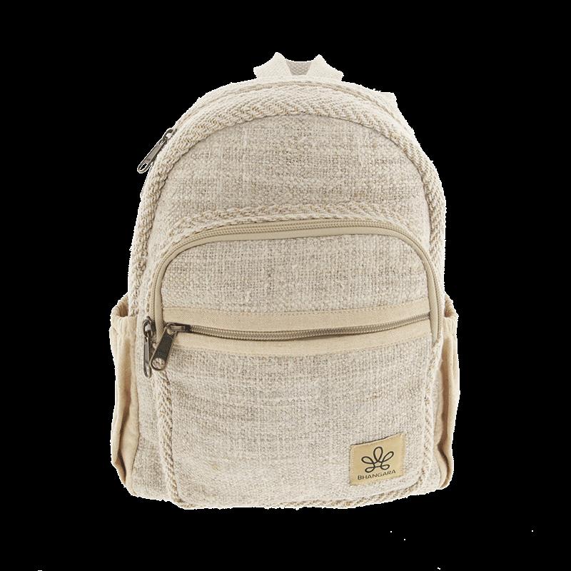 """Mini sac à dos \""""Sunsari\"""", chanvre et coton sable"""