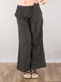 """Pantalon bouffant \""""Endah dot Seigaiha\"""", Noir"""