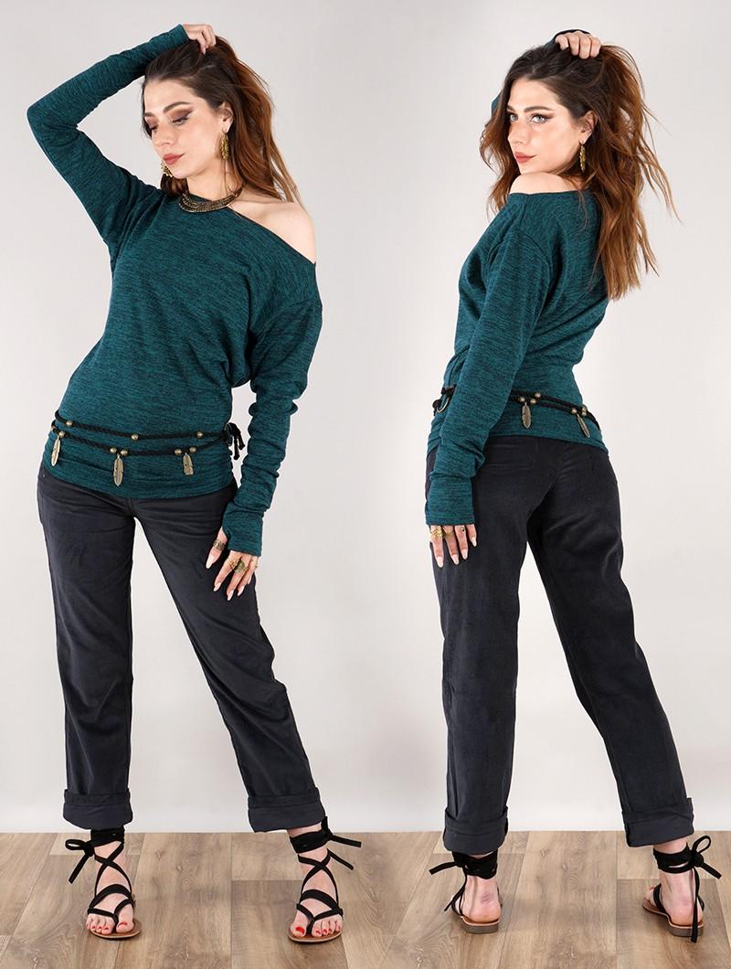 """Pantalon en velours \""""Ottarah\"""", Noir"""