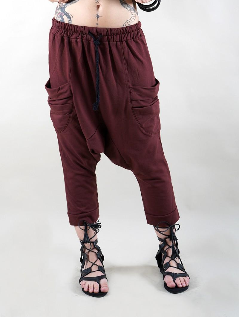 "Pantalon sarouel 3/4 unisexe \""Safar\"", Bordeaux"