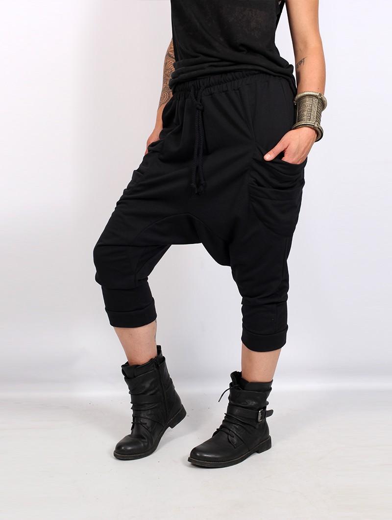 "Pantalon sarouel 3/4 unisexe \""Safar\"", Noir"