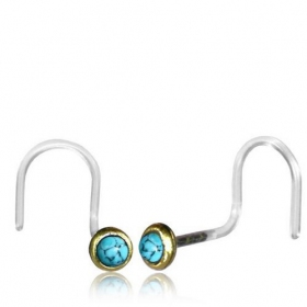 "Piercing nez tige incurvée \""Saral Turquoise\\\"""