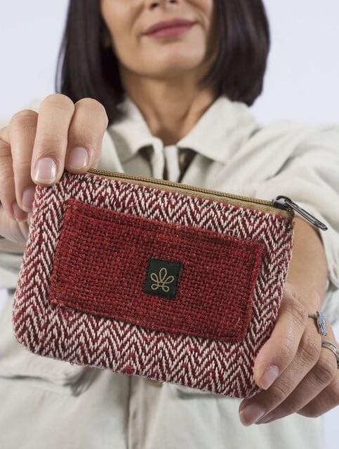 """Porte monnaie \""""Rolpa\"""", Chanvre et coton rouge"""