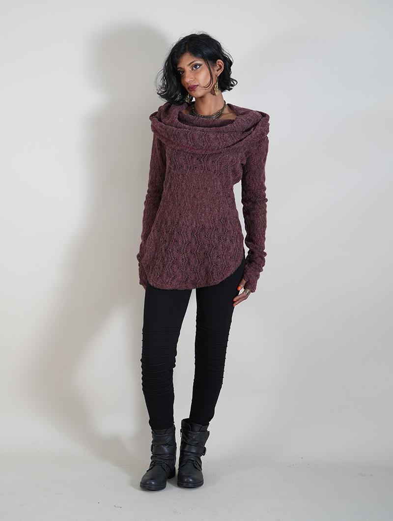 """Pull en crochet \""""Hookäa\"""", Bordeaux"""