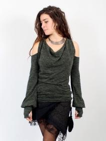 "Pull épaules dénudées \""Elixir\"", Vert lichen"