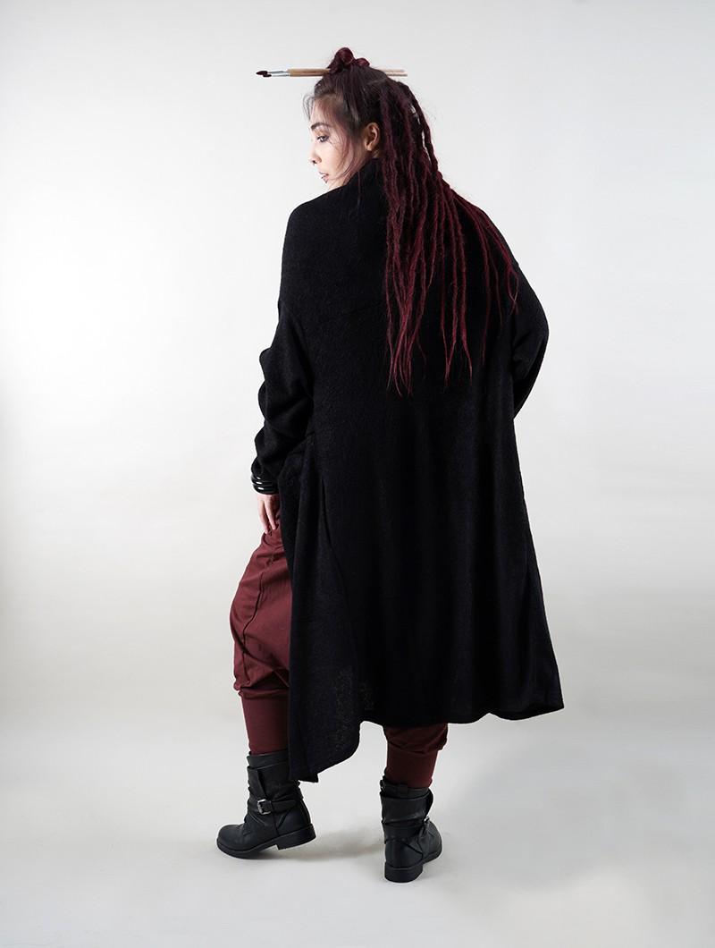 """Pull long asymétrique \""""Kazima\"""", Noir"""