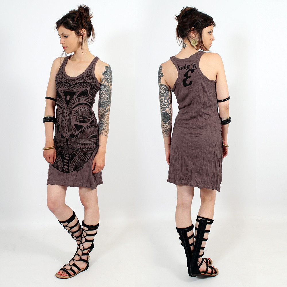 Robe \\\'\\\'Tribal tattoo face\\\'\\\', Violet foncé