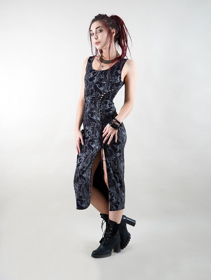 """Robe \""""Angelina\"""", Noir motif reptile"""